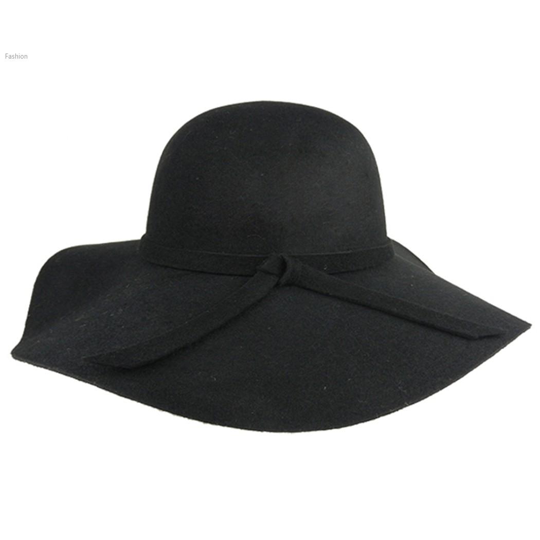 0d0002f62c Get Quotations · Cheapest Sun Hats Women Vintage Black Wide Brim Wool Felt  Bowler Fedora Hat Floppy Cloche Beach