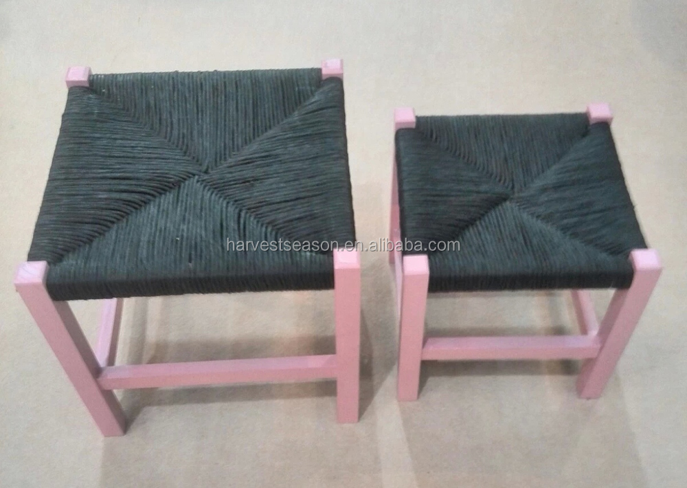 kidu0027s stools with paper cord or straw rope weaved pad