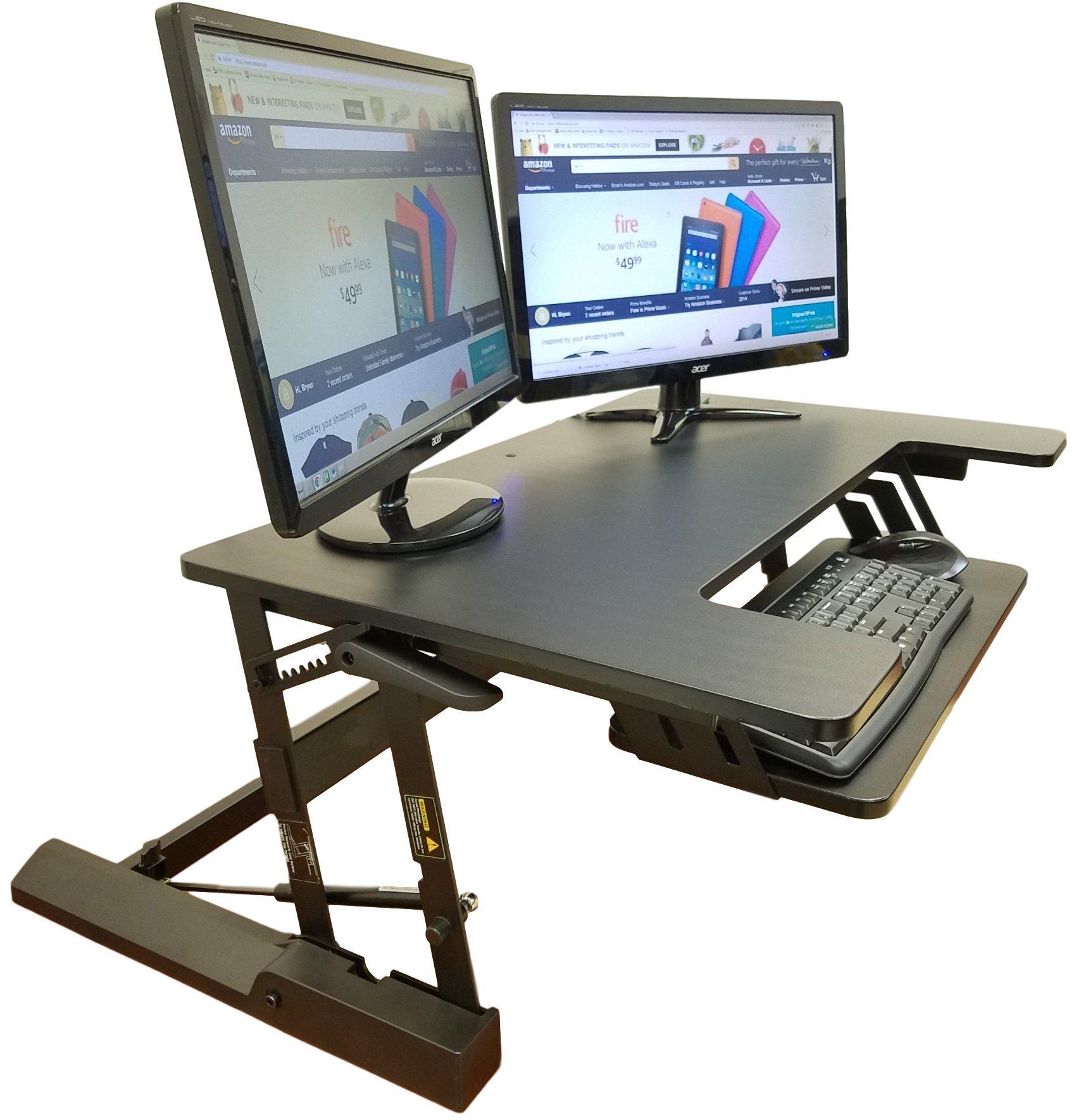 """Standing Desk Height Adjustable Stand - Up Sit Stand Desks Converter Standup Workstation Fits Big Monitors 36"""" Wide"""