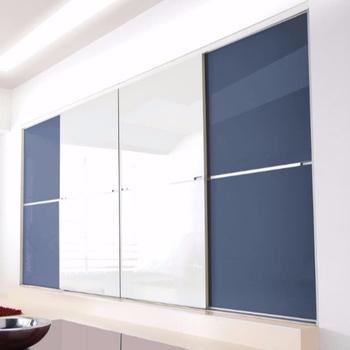 Minimalist Cheap Sliding Pvc Wardrobe Blue Doors Designs