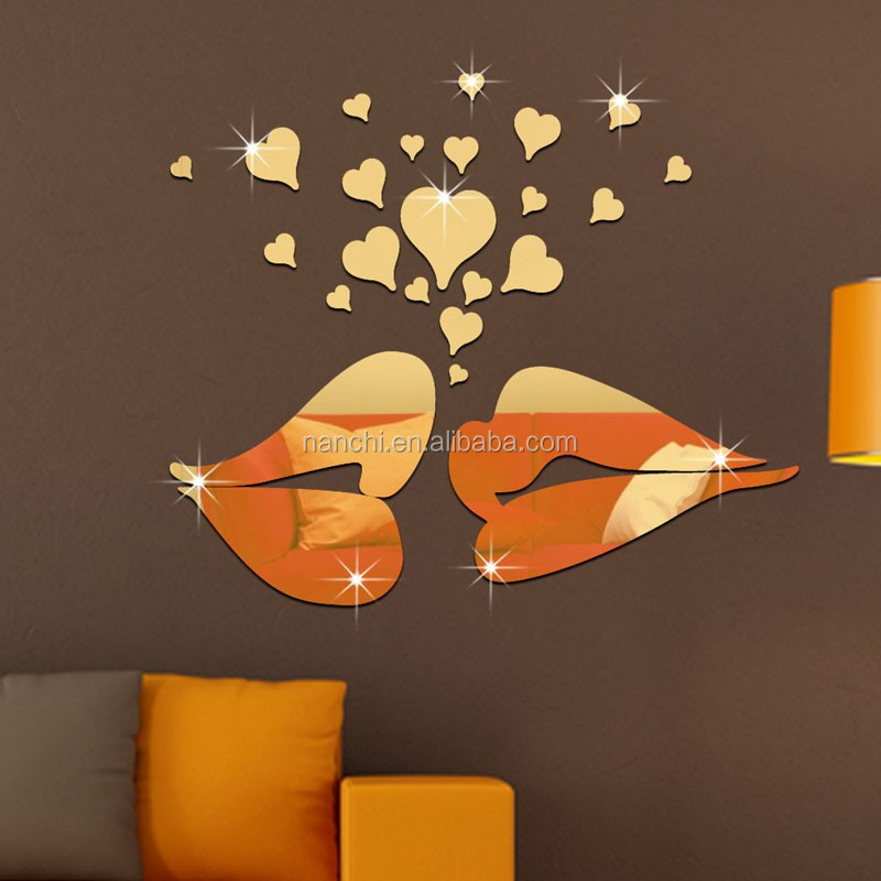 Removable Acrylic 3D Lips Heart Mirror Wall Sticker Home Decals TV Background Bathroom Living Bedroom Wall Paper Wall Stickers