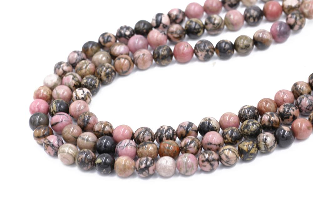 Round Shape 8mm Rhodonite Beads Pink With Black Natural Gemstone Loose Bead