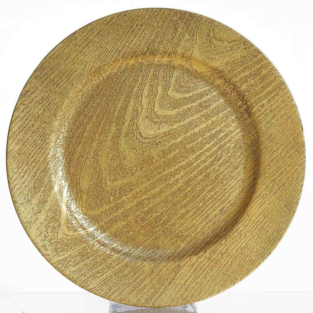 "Tableclothsfactory 13"" Round Wooden Textured Gold Acrylic Charger Plates Wedding Party Dinner Servers - Set of 24"