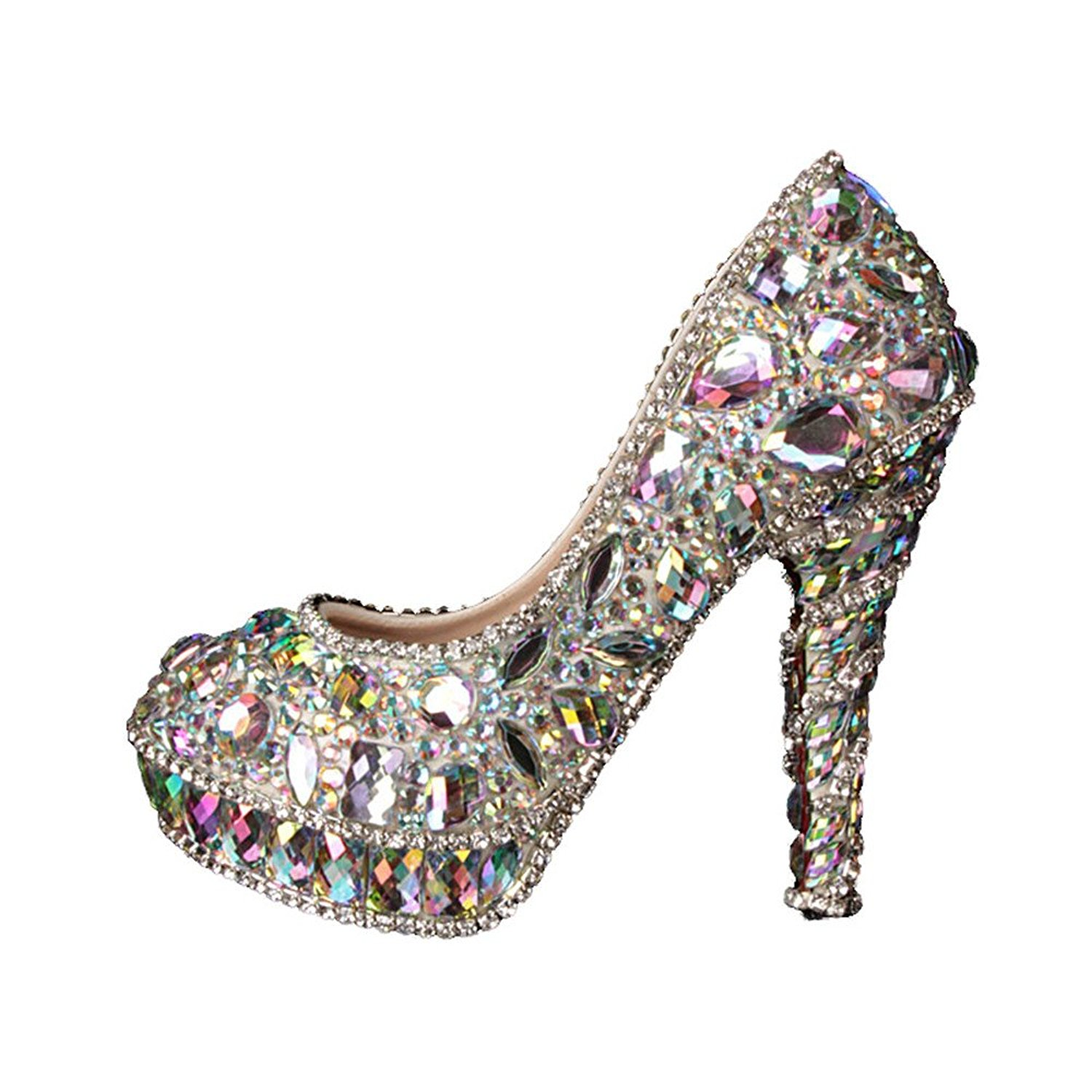 df9bb924ec3282 Get Quotations · Silver Colorful Crystal Shoes Womens High Heels Pumps For  Weddings Prom Party For Weddings Prom Party