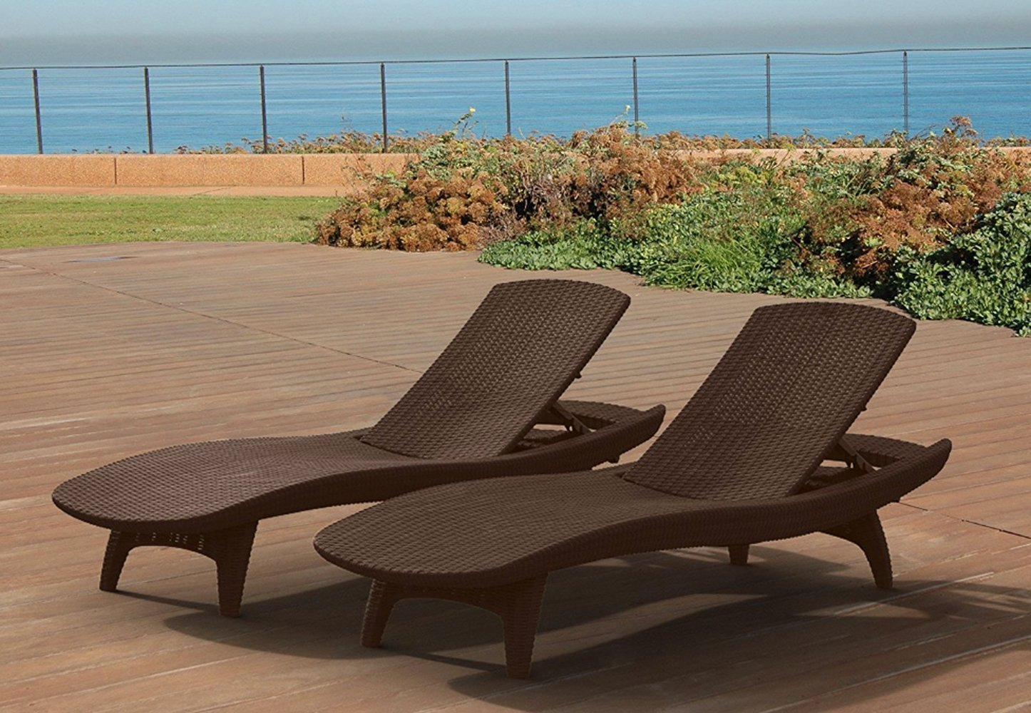 Patterned Chaise Lounge, Resin Material, Whiskey Brown Color, Set Of 2 Pieces, Ideal For Outdoor Spaces, Resistant To Weather Conditions, Stylish Design, Sturdy And Durable Construction & E-Book