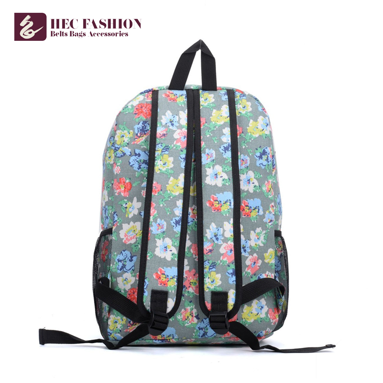HEC Customized Large Capacity Children School Bags Green Floral Pattern Preppy Style Outdoor Backpack For Teenage Girls