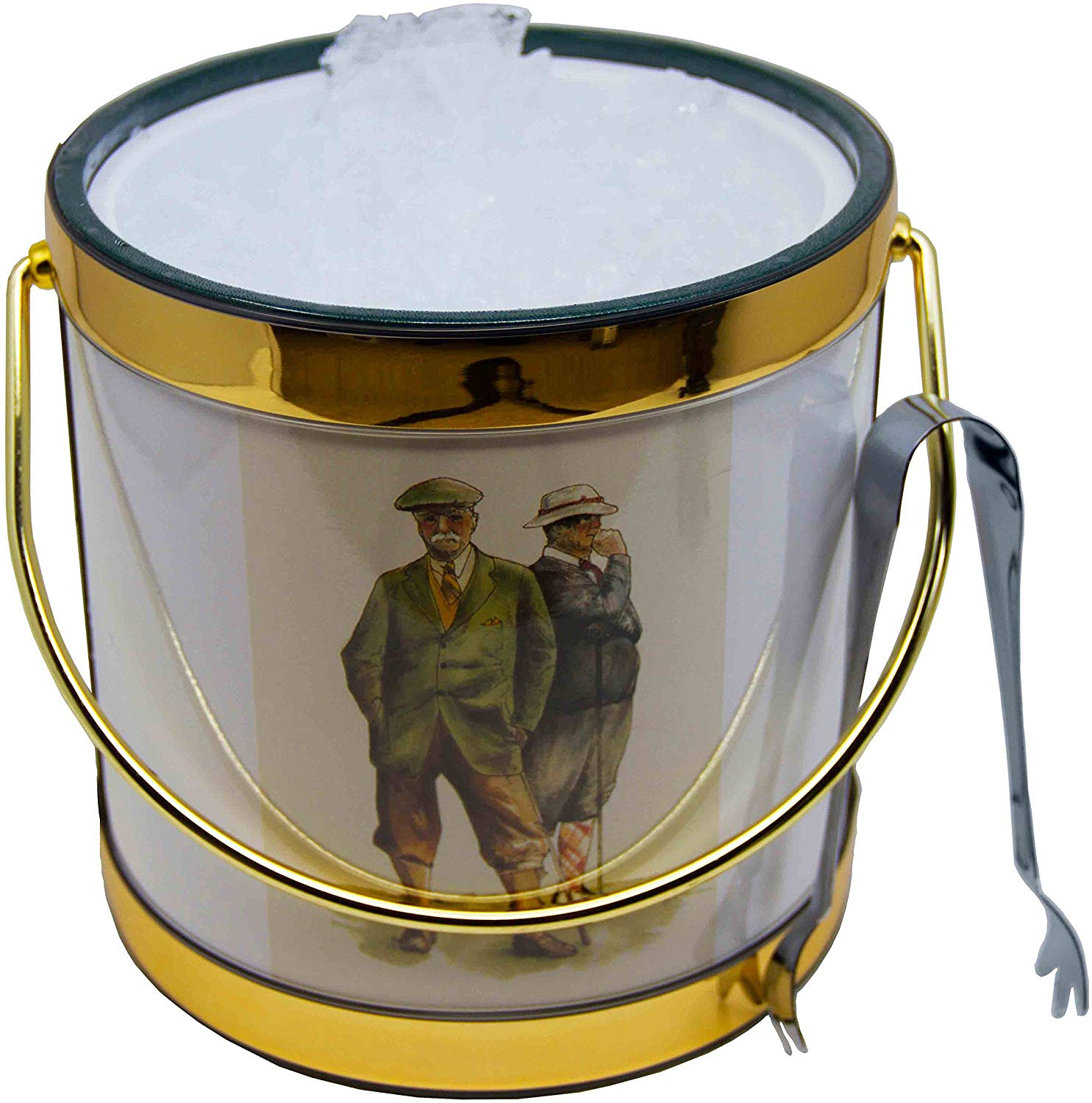 Hand Made In USA Vintage Golfers Double Walled 3-Quart Insulated Ice Bucket With Bonus Ice Tongs