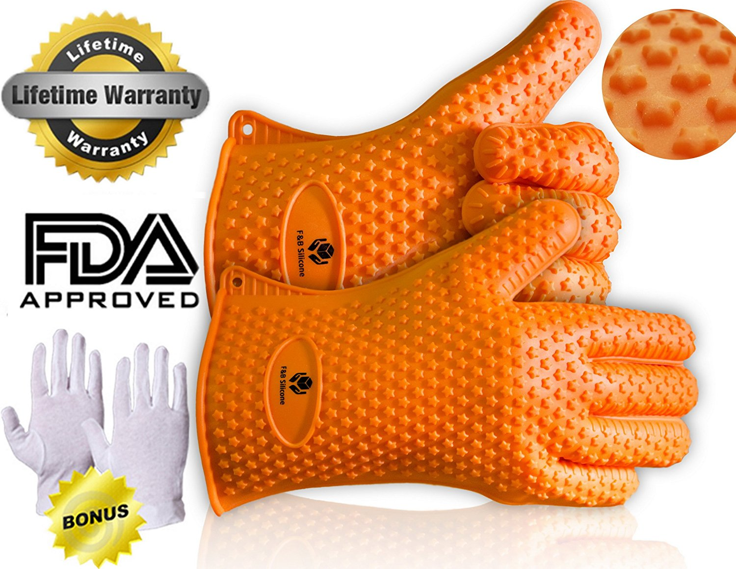 !!Final Clearance!! Silicone BBQ Star Gloves Silicone Heat Resistant Grilling BBQ Gloves for Cooking, Baking, Smoking & Potholder, !One Pair! ** Bonus Inside ** !!Final Clearance!!
