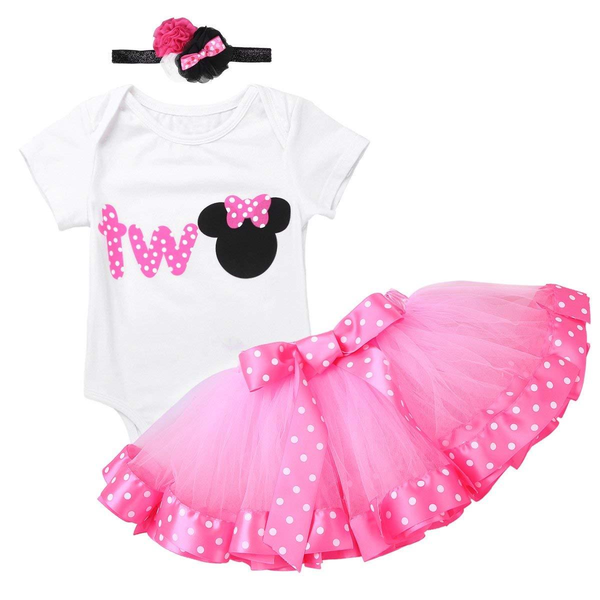 Freebily 3 Pcs Infant Baby Girls 1st Birthday Outfits Princess Cartoon Romper Tutu Skirt Clothes Sets