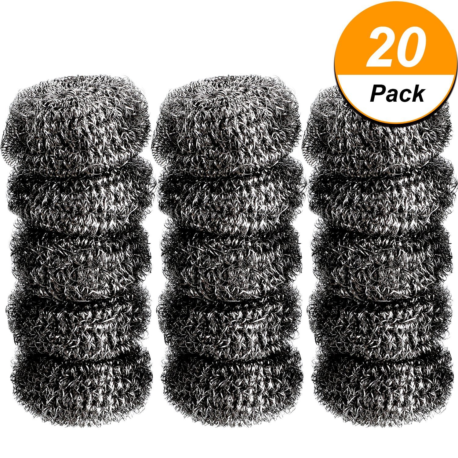Boao 20 Pack Stainless Steel Scourer Metal Scourer Stainless Steel Sponge Scourer Pads for Home Kitchen Greasy Dirt Cleaning