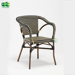 Aluminum paris rattan dining chair with arm (E1040)