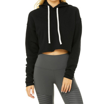 Gym fitness women's hoodies 100% cotton blank black crop top hoodie