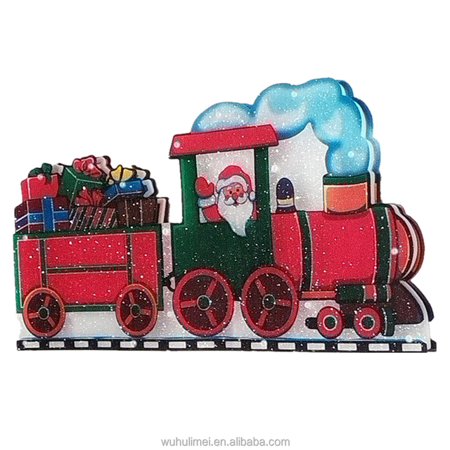 christmas decoration marquee light led railway train santa claus light wall indoor outdoor - Thomas The Train Outdoor Christmas Decoration