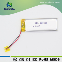 lithium li-polymer Battery 522055 3.7V rechargeable licoO2 battery for digital camera
