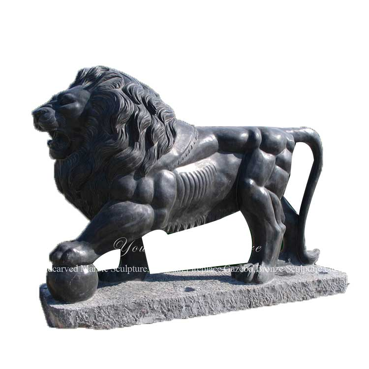 Hand Carving Stone Black Lion Statue