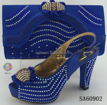 Sa60902 Gold Wedding Shoes And Bags Set High Heels Leather Women Hand Bag
