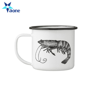 Full Color Print 7CM 8CM 9CM High Quality Plain White Enamel Coffee Mug Wholesale Breakfast Camping Tea Cup
