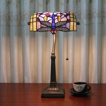 10u0026quot; Wide Tiffany Style Dragonfly Bank Table Lamp For Decoration