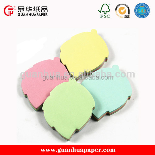 School and office usage printing leaf shaped sticky notes
