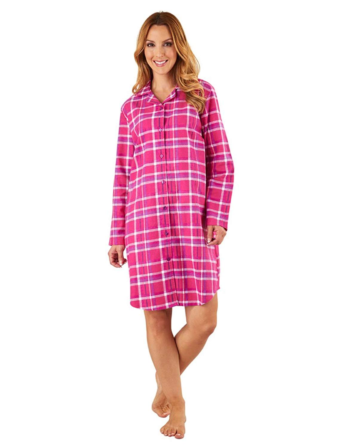 3ad1a3cfd8 Get Quotations · Slenderella NS8215 Women s Raspberry Pink Check Cotton  Nightshirt