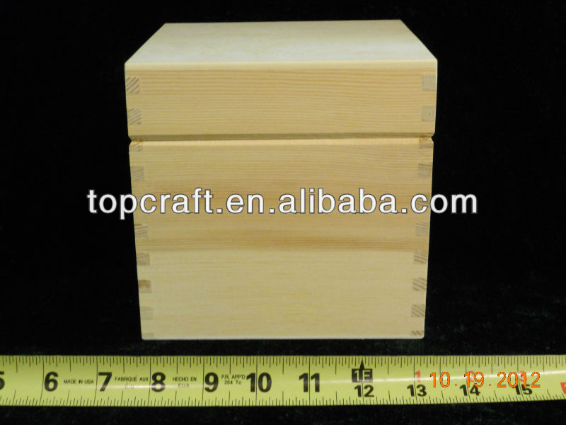 "6 ""unfertige Holz Cube Rezept Box / Keepsake Box / Pet Urne mit Messingscharnieren"