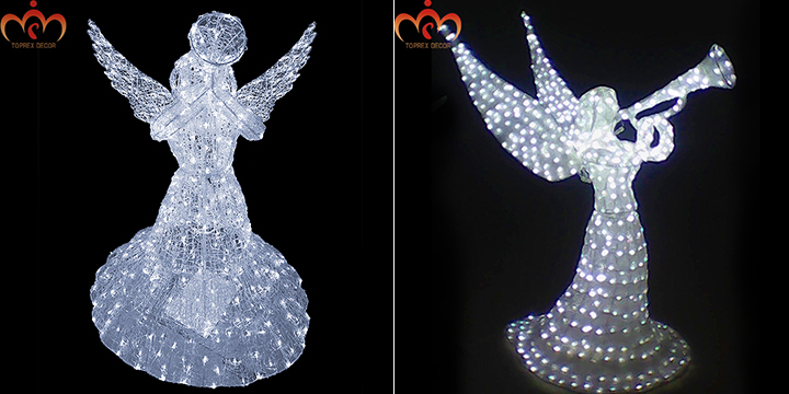 Church decoration outdoor lighted white crystal angel