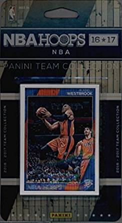 2016-17 Panini NBA Hoops FACTORY SEALED Oklahoma City Thunder Team Set of 9 Cards: Victor Oladipo(#75), Russell Westbrook(#131), Steven Adams(#132), Enes Kanter(#133), Cameron Payne(#135), Ersan Ilyasova(#208), Andre Roberson(#241), Anthony Morrow(#242), Domantas Sabonis(#271)