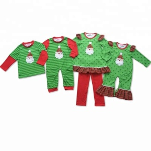 2018 Wholesale Kids Red Green Snowman Christmas Pajamas Family Matching Clothing Sets