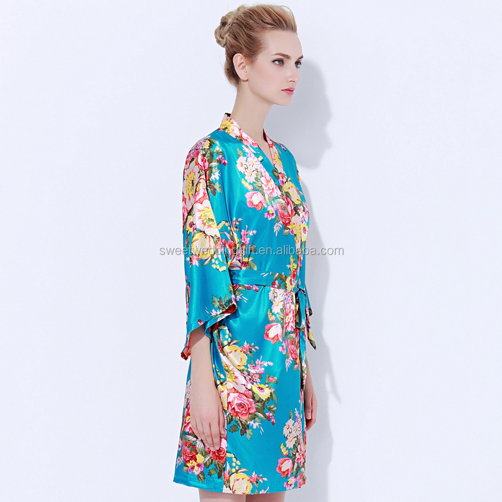 Satin Embroid Dressing Gown, Satin Embroid Dressing Gown Suppliers ...