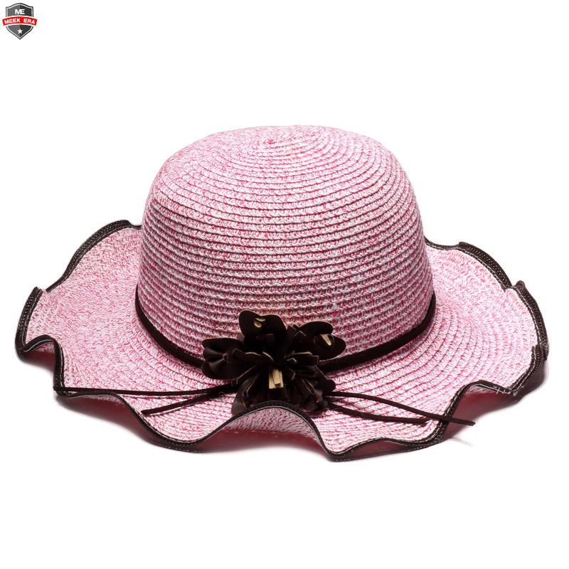 Custom women ladies beautiful flower decoration ruffle brim sun protection  straw beach hat f64dac720
