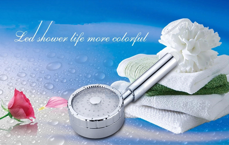ABS Material Temperature Detectable Switch Controlled Colors Changing LED Shower Head
