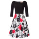 BP Retro Vintage 3/4 Sleeve Floral Pattern Cotton Patchwork Party Picnic Dress BP000747-2