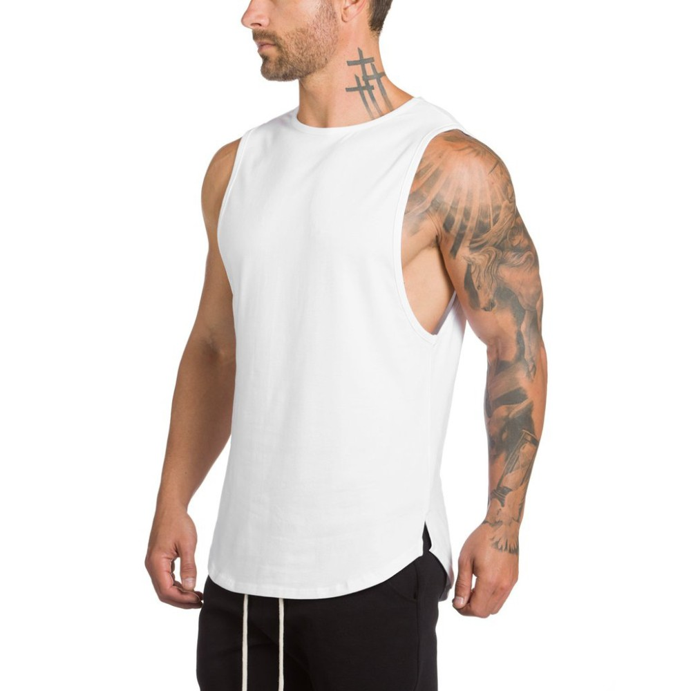 Wholesale men blank white sleeveless t shirts in bulk Bulk quality t shirts