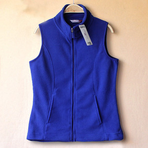 Woman Blue Work Uniform Fleece Vest