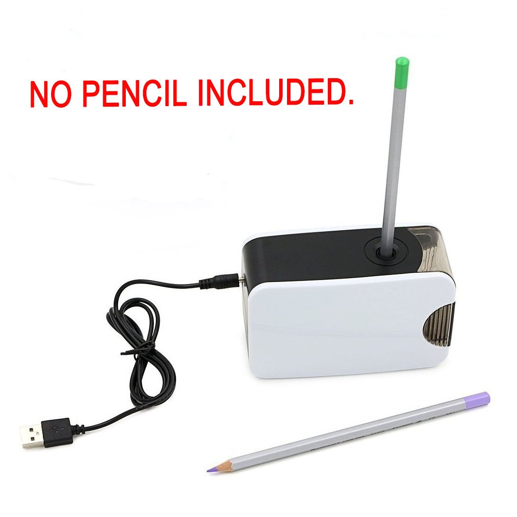 Pencil Sharpener, TopRay Electric Pencil Sharpener USB or Battery Operated Colored Pencils Sharpener Automatic Pencil Cutter for Pencils 6.5-8.0mm with Replacement Blades (White)