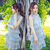 B10662A europe woman embroidery lace dress high quality lace dresses