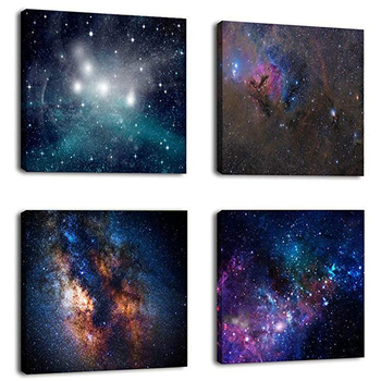 4 pieces / set Outer space star wall hanging painting canvas printing art canvas for painting,art painting canvas