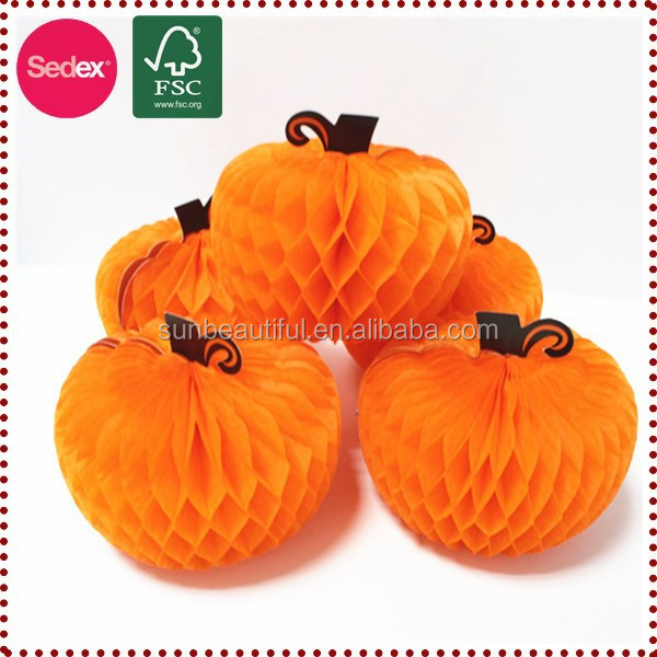 Large tissue paper honeycomb artificial pumpkins for sale