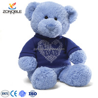 2016 blue color teddy bear with t-shirt custom stuffed teddy bear plush pattern