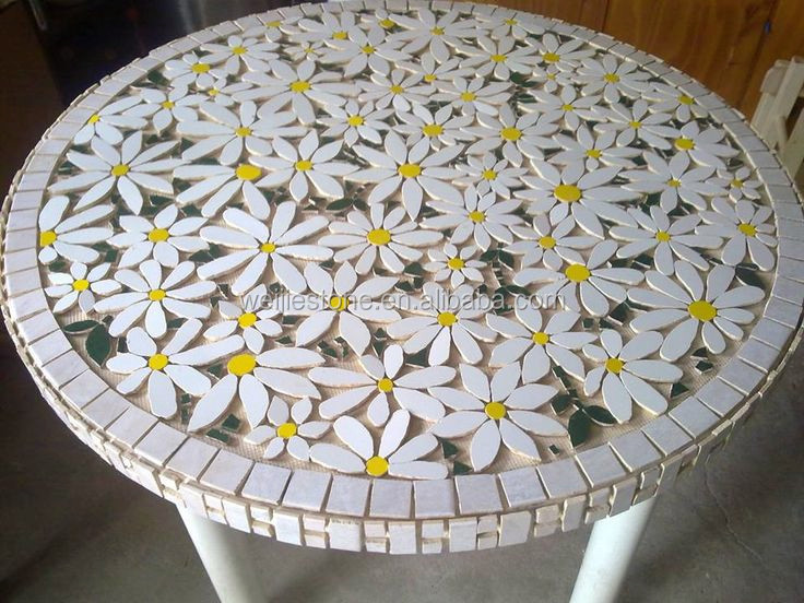 Round Marble Mosaic Flower Pattern Table Top Mosaic Garden