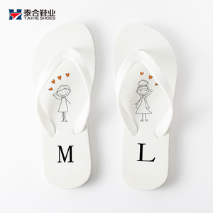 Personalized custom cheaper souvenirs white flip flops wedding