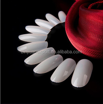 BIN newest hot sale oval head full cover Nail tips metallic artificial finger nails
