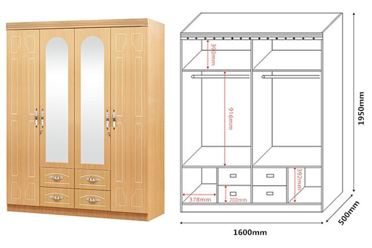 Home furniture wood almirah designs 4 door wardrobe cabinet cheap modern bedroom mdf wardrobe - Modern almirah designs ...