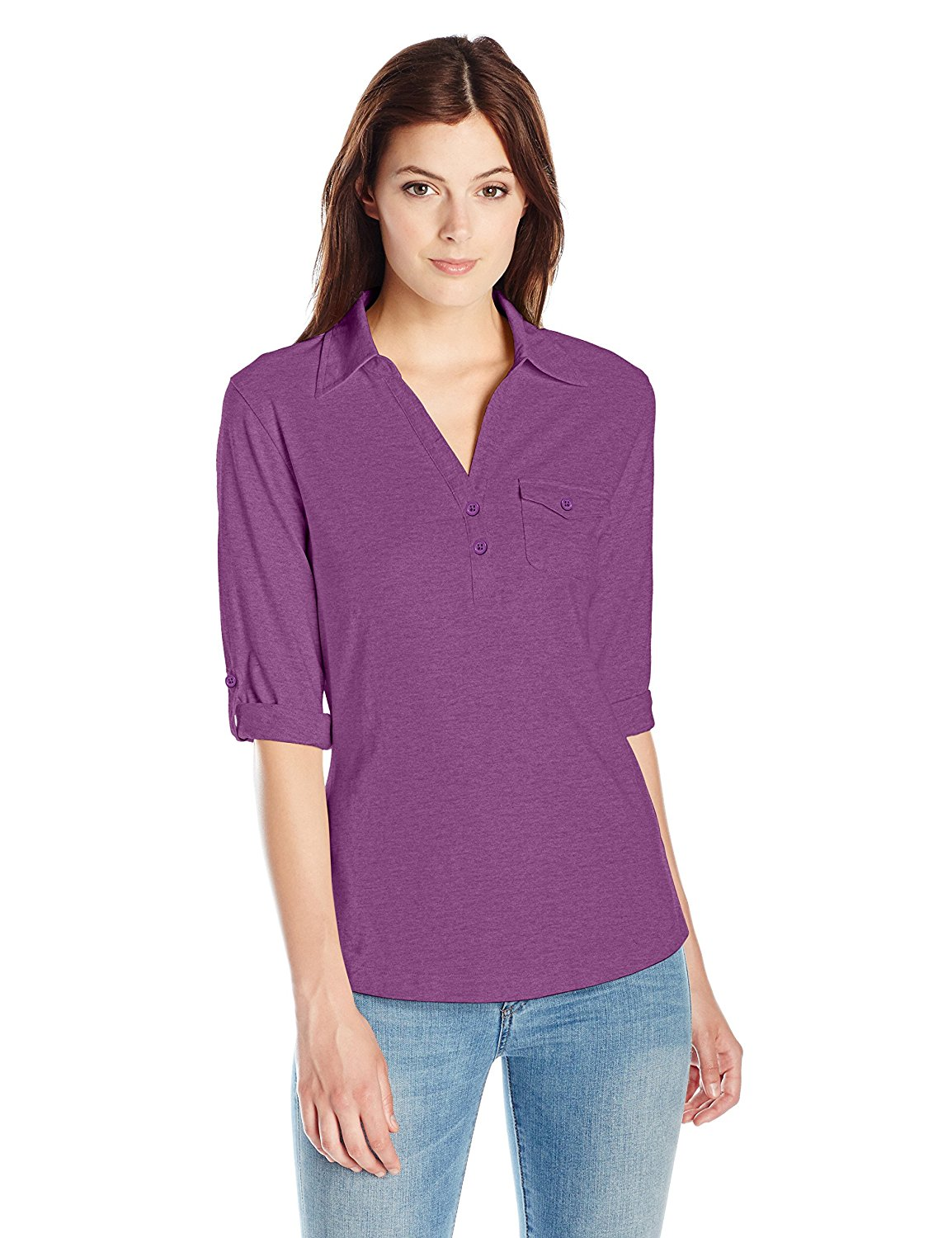 7f8b3183a32 Get Quotations · Riders by Lee Indigo Women s 3 4 Sleeve Roll Tab Sleeve  Knit Henley Shirt