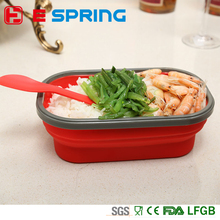 SGS Single lunch box with spoon food container silicone