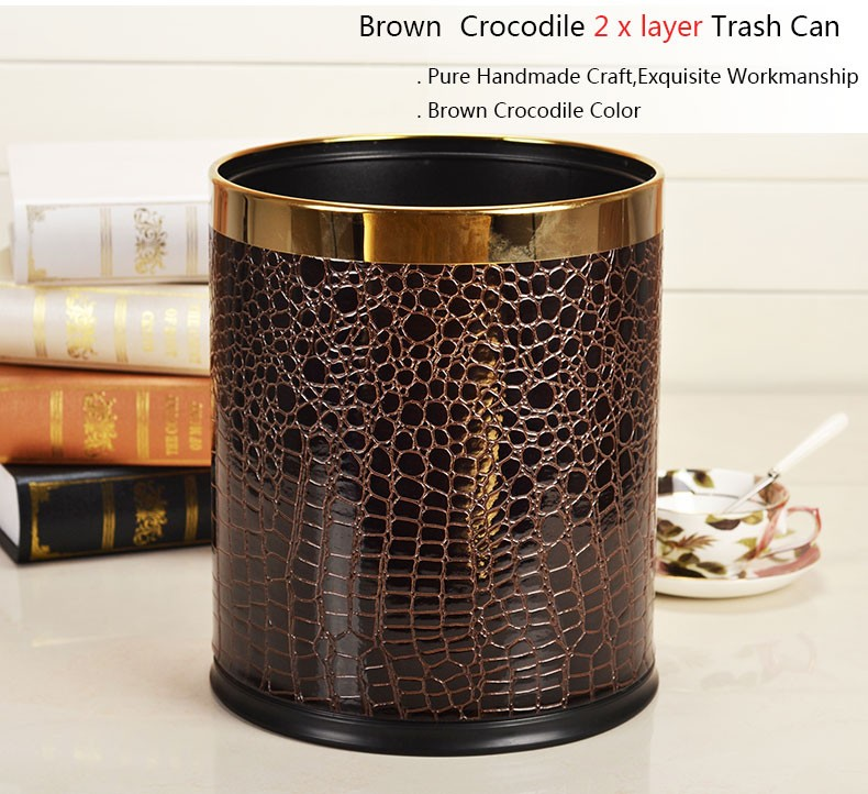 Great Home Office Luxury Double Layer Waste Bin Faux Leather Cover Stainless  Steel Metal Trash Can Round
