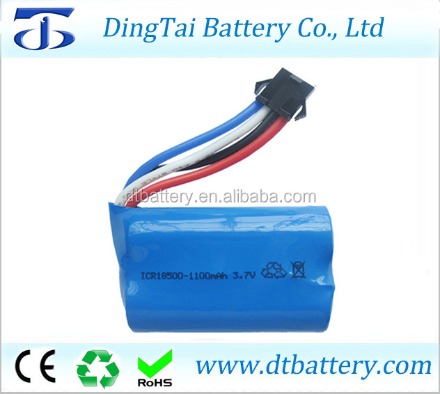 7.4v 1100mah 2s li-ion battery pack 18500 7.4v 1100mah 15C rc boat rc car battery