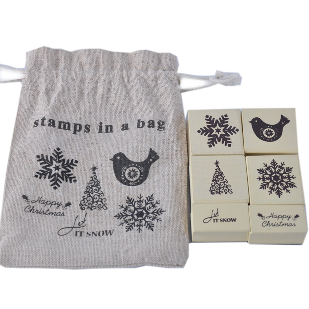 6pcs hot selling christmas snow & tree & bird & words adult rubber wooden stamp in sack bag