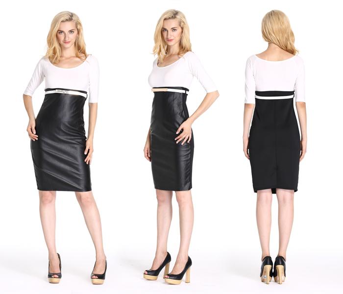 wit met zwarte jurk