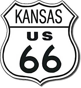 """ART/ARTWORK - Licensed Collectibles - CLASSIC AMERICAN HIGHWAYS - SCENIC HIGHWAYS - LANDMARK HIGHWAYS - ROAD SIGNS [3542282] - """"HISTORIC ROUTE 66 - Kansas US 66"""" - Artwork/Sign Is Paint On Metal [TSFD]"""